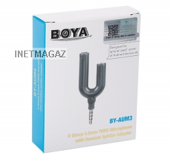 BOYA by-aum3 3.5 мм TRRS гарнитура Splitter адаптер для андроид iPhone 6 6S 5 5S 4 4S iPad IPod Touch