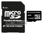 Silicon Power micro SDHC Card 8GB Class 4 + SD adapter